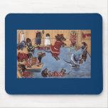 Dachshund en el vintage Mousepad de la piscina Alfombrilla De Ratones