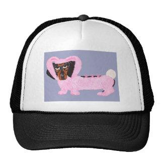 Dachshund en juego rosado borroso del conejito gorras de camionero