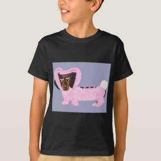 Dachshund en juego rosado borroso del conejito playera