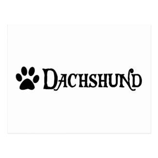 Dachshund estilo del pirata con el pawprint postal