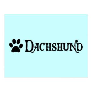Dachshund estilo del pirata con el pawprint tarjeta postal