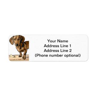 dachshund etiqueta de remite