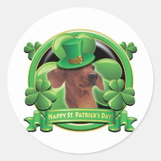 Dachshund feliz del día del St Patricks Pegatinas Redondas