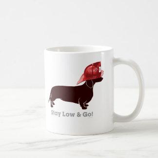 "Dachshund Firefighter ""Stay Low"" Coffee Mug"