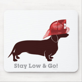 "Dachshund Firefighter ""Stay Low"" Mouse Pad"