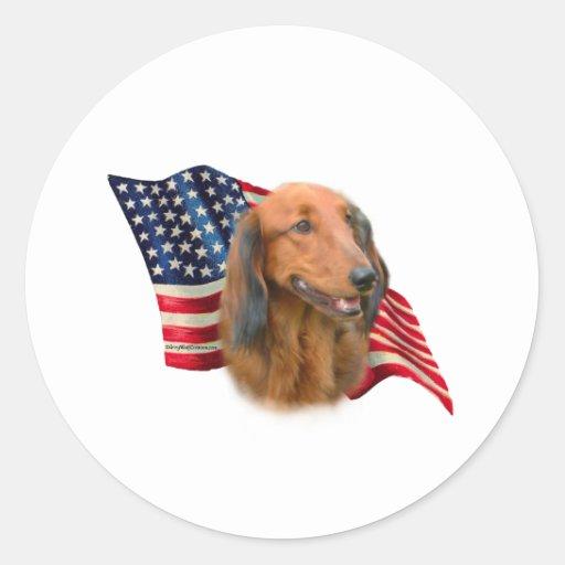 Dachshund Flag Classic Round Sticker
