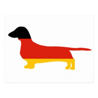 dachshund flag silhouette postcard