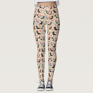 Dachshund floral dog leggings