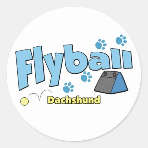 Dachshund Flyball Round Sticker