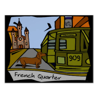 Dachshund French Quarter Streetcar Poster