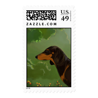 Dachshund front postage stamps