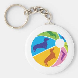 Dachshund Fun Beachball Basic Round Button Keychain