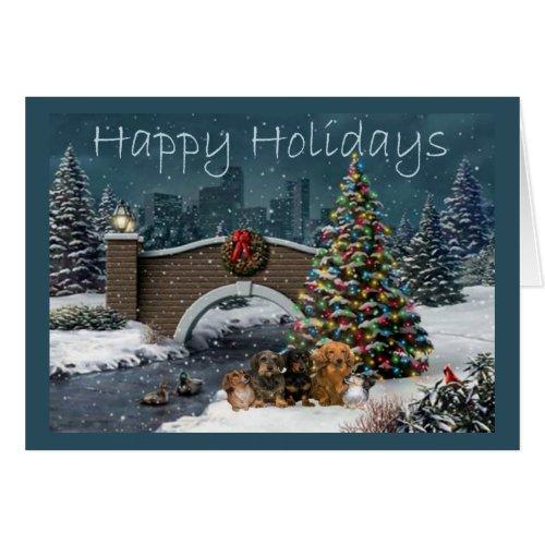 Dachshund Gang Christmas Card