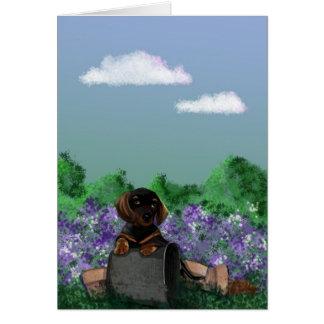 dachshund garden card