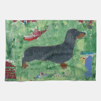 Dachshund Gifts Wiener Dog Modern Abstract Art Kitchen Towel