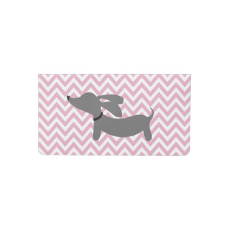 Dachshund Gray and Pink Checkbook Cover
