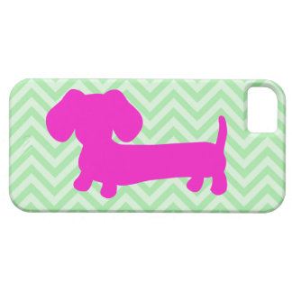 Dachshund + Green Chevron iPhone SE/5/5s Case