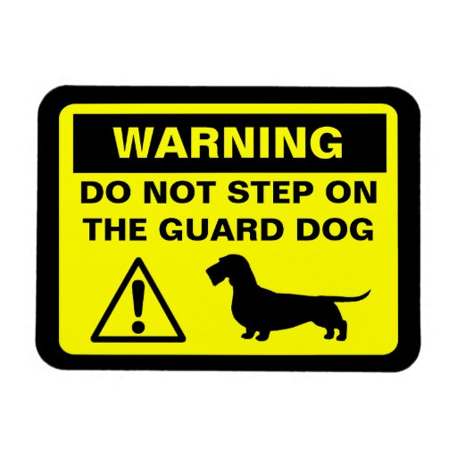 Dachshund Guard Dog Warning (Wire Haired Doxie) Magnets