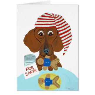 Dachshund Guarding Santa's Cookies Card