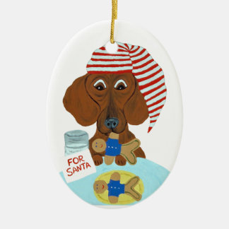 Dachshund Guarding Santa's Cookies Ceramic Ornament