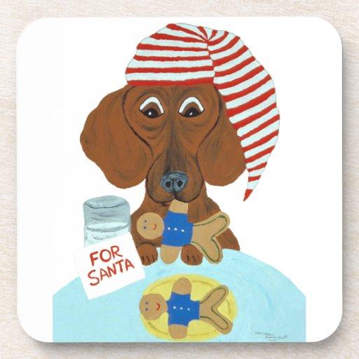Dachshund Guarding Santa's Cookies Beverage Coaster