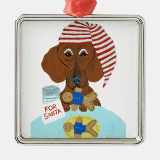 Dachshund Guarding Santa's Cookies Metal Ornament