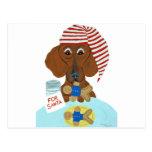 Dachshund Guarding Santa's Cookies Post Card