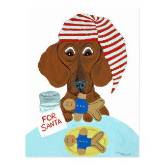 Dachshund Guarding Santa's Cookies Postcard