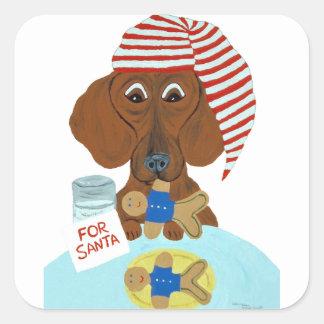 Dachshund Guarding Santa's Cookies Square Sticker