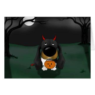 Dachshund Halloween Devil Card
