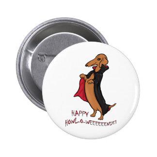 Dachshund Halloween Vampire Pinback Buttons