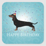Dachshund Happy Birthday Design Square Sticker