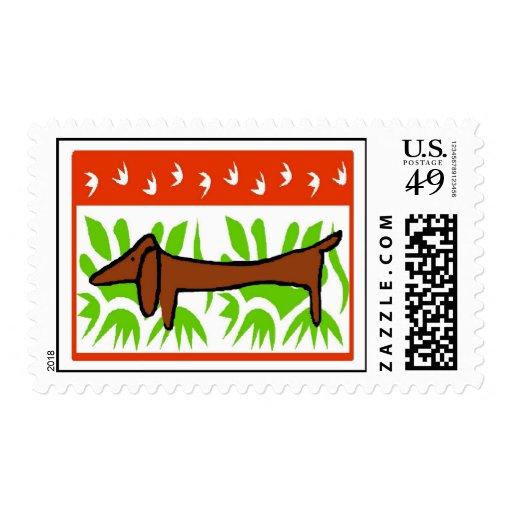 Dachshund Happy Holiday Postage Stamp