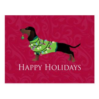 Dachshund Happy Holidays Design Postcard