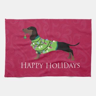 Dachshund Happy Holidays Design Towels