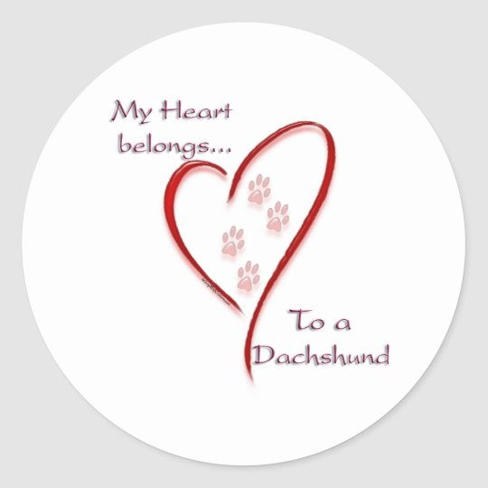 Dachshund Heart Belongs Classic Round Sticker
