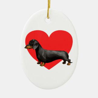 Dachshund Heart Ceramic Ornament