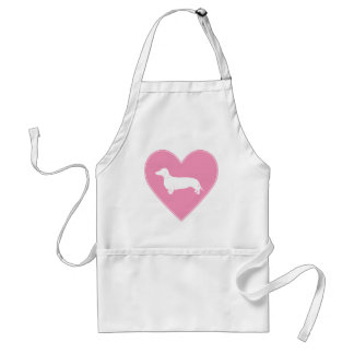 Dachshund Heart Classic Pink Adult Apron