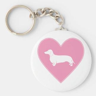 Dachshund Heart Classic Pink Basic Round Button Keychain
