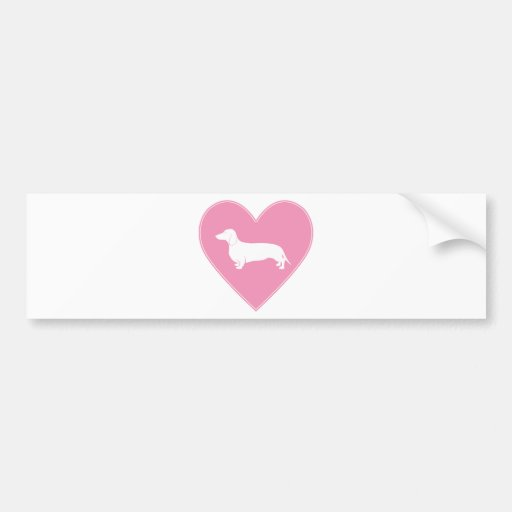 Dachshund Heart Classic Pink Bumper Sticker
