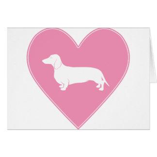 Dachshund Heart Classic Pink Greeting Card