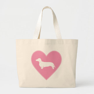 Dachshund Heart Classic Pink Large Tote Bag