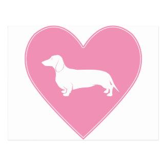 Dachshund Heart Classic Pink Postcard