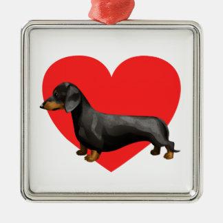 Dachshund Heart Metal Ornament