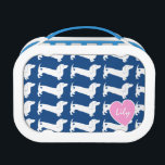 """Dachshund Heart Pattern Lunch Box<br><div class=""""desc"""">White dachshund dog silhouette pattern with heart over blue or choose your own background color.  Personalize with a name or other text.</div>"""