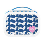 Dachshund Heart Pattern Lunch Box<br><div class='desc'>White dachshund dog silhouette pattern with heart over blue or choose your own background color.  Personalize with a name or other text.</div>