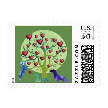 Wedding Themed Dachshund Hearts Garden Custom Stamp