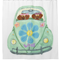 Good Dachshund Hippies In Flower Love Mobile Shower Curtain
