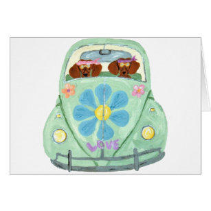 Dachshund Hippies In Their Flower Love Mobile