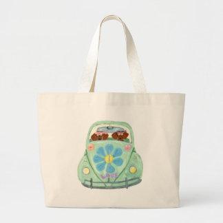 Dachshund Hippies In Their Flower Love Mobile Bags